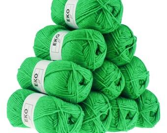 10 x 50 g knitting wool EKO FIL, #276 Apple green