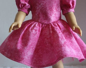 Pink dress with attached petticoat, American Girl, Fits 18 inch doll