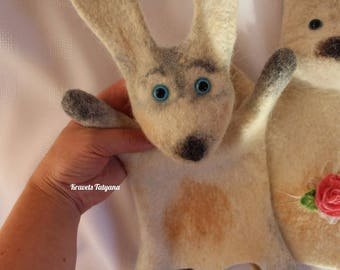 Hand puppet - Bibabo - Felted bunny - Bunny puppet - felted animals - felt toys - handmade toy - toy hare - Home theater - rabbit - felting