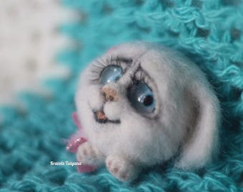 Needle felted bunny,  Brooch White Bunny, felt brooch, felt hare, felt ornaments, handmade,decoration, little hare, gift, toy, Christmas