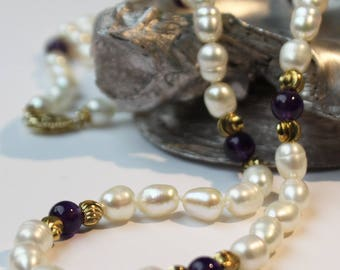 Amethyst Freshwater Pearl Necklace, 14k gold necklace, 14k gold clasp SKU AM23GRISGY