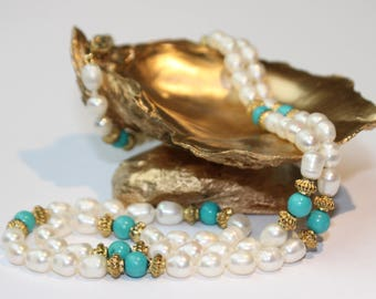 Turquoise Freshwater Pearl Necklace, 14k Yellow Gold Clasp SKU TQ24SOPMGY