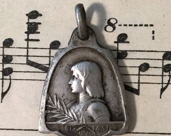 Antique French Joan of Arc Religious Medal c1920