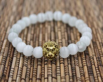 White Lion (Gold) - Bead Bracelet