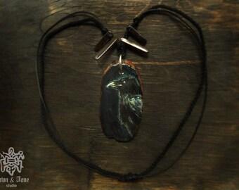 Raven pendant/ Raven necklace/ Norse /Acrylic painting/ Miniature painting/ Massive necklace