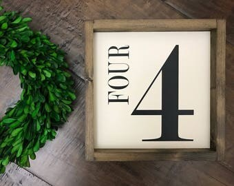 Number Sign | Wood Sign | Family Number Birthday Age Photo Prop Flashcard Flash Card | Farmhouse Style | Farmhouse Sign | Farmhouse Decor