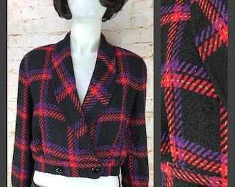 Women's Vintage Plaid Jacket - Cropped Jacket - Wool Jacket - Gianni Flannel Plaid Cropped Blazer Cropped Wool Jacket - Vintage Jacket women