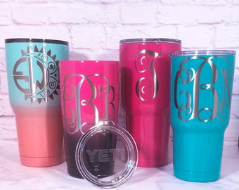 Monogrammed Powder Coated Tumbler - Personalized Powder Coated Yeti, Ozark Trail, RTIC - Custom Powder Coat Tumbler
