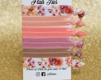 Floral Peach and Mauve Hair Ties Hair Elastics Headbands