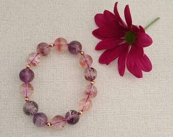 12 mm Natural Super Seven Crystal and gold filled beads Bracelet, Super Seven Mineral Gemstone Bracelet (BEADJ1028)