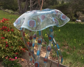 JELLYFISH WINDCHIME DOTS, spots, jelly fish, wind chime, blue red clear, ocean, tropical