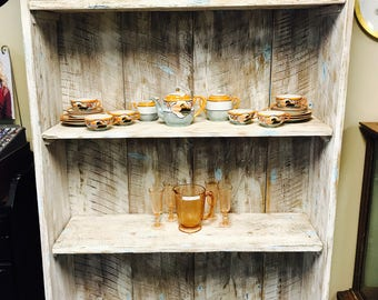 Painted and Distressed Barnwood Bookcase