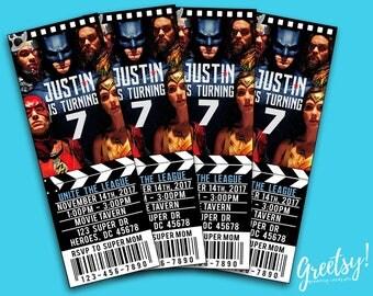 Justice League Invitation, Justice League Birthday, Justice League Party, Justice League Movie Pass, Justice League, Justice League Movie
