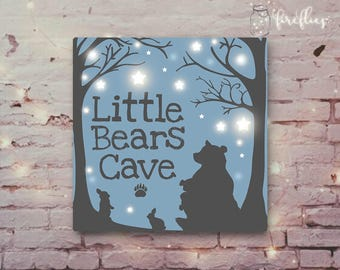 Little Bears Cave LIGHT UP Personalised Canvas