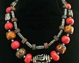 Double strand red/brown African bead  necklace