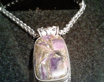 One Amethyst Silver Necklace and One Pink Tourmaline silver Necklace