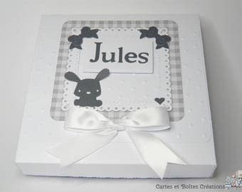 Birthstone - Lovely grey Bunny - free shipping gift box