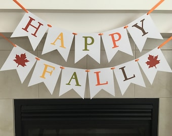 Happy Fall Banner, Fall Banner, Fall Decoration, Seasonal Banner, Seasonal Decoration, Classroom Decoration, Photo Prop