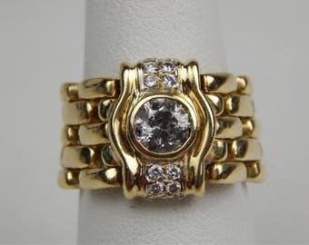 14k gold .80 Ctw diamond panther ring #10432