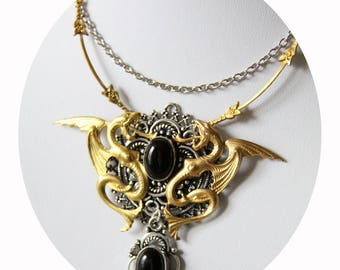"Necklace black gold dragon and silver ""Be a dragon"" Golden Medallion dragon black agate pendant necklace, gold and silver Griffin necklace"