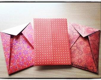 Set of 3 Origami Envelopes, orange, hearts and flowers