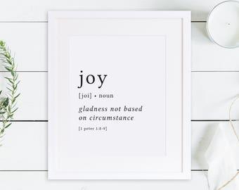 Joy Print / Definition Print / Fruit of the Spirit / Fruits of the Spirit / Bible Verse Print / Galatians 5 / Bible Verse Art / Galatians