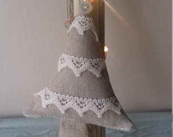 Linen and lace Christmas tree finished with a vintage button.  Christmas tree decoration.  Hanging Christmas tree.