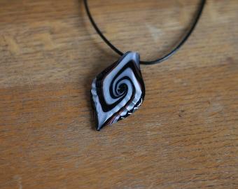 Black and White Swirl Pendant Necklace