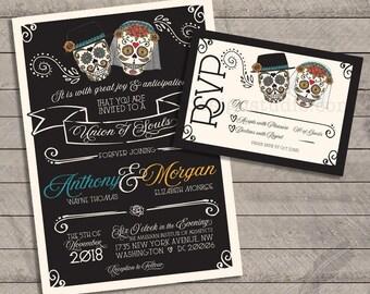 Skull wedding invitation Etsy