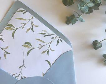 Delicate Leaf Liner + Envelope | A7 Euro Flap Envelope  | Leaf Liner // Fall Envelope Liner // Rustic Wedding Invitation