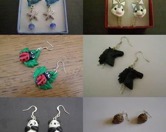 Choose pair of earrings, animals, dolphin, dog, ladybug, horse, panda and Hedgehog