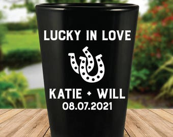 "Custom ""Lucky in Love"" Black Wedding Favor Shot Glasses"