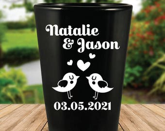 Custom Personalized Love Birds Black Wedding Favor Shot Glasses