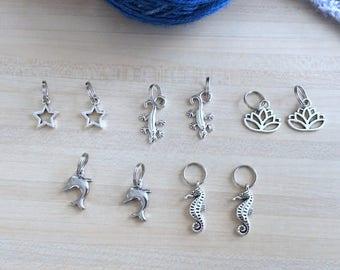 Lot de 10  anneaux marqueurs pour votre tricot - Lot numéro 3 - dauphin, salamandre, hippocampe