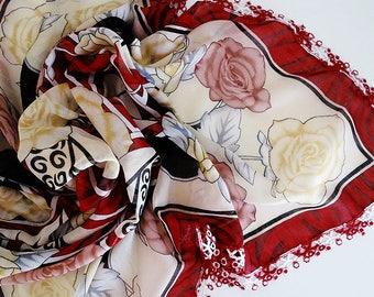 Turkish Scarf, Vintage Oya Scarf, Cherry Head Scarf, Square Floral Scarf, Yemeni Needle Lace Scarf, Crochet Shawl
