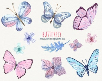 Watercolor butterflies Clipart butterfly Butterfly and flowers