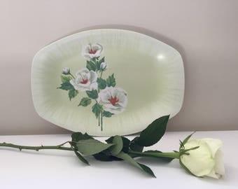 Vintage Bessemer White Roses Small Platter