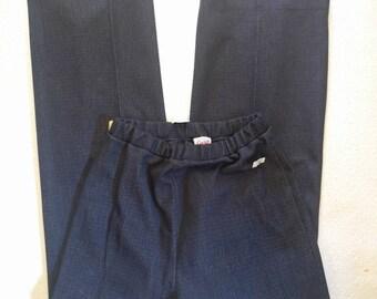 Vintage Polyester High Waist Wide Leg Stretch Pants Elastic Waist sz M