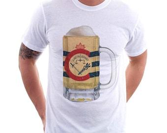 Cincinnati City Flag Beer Mug Tee, Unisex, Home Tee, City Pride, City Flag, Beer Tee, Beer T-Shirt, Beer Thinkers, Beer Lovers Tee