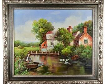 "Impressionism, Large Original Hand Painted Landscape Art, ""The Cottage, Fisherman and Ducks"" 25 x 30"