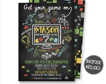 Video Game Invitation, Gaming Invitation, Video Game Party, Video Game Truck Invite, Birthday, Arcade, Digital, Printable, Personalized