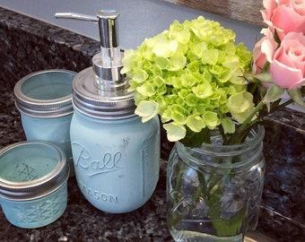 Mason jar bathroom set  (set of 4); mason jar set