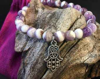 Genuine Banded Purple Amethyst Gemstone 8mm Crystal Elastic Stretch Bead Bracelet Hamsa  Wrist Mala