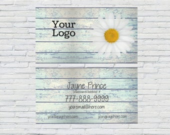 Rustic Business Card, Essential Oil, Independent Distributor, Digital File, Small Business, Blogger, Printable, Personalized, Daisy, Blue