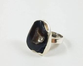 Black Agate Druzy Silver Ring,  Black Trending Unique Ring, Adjustable Ring, Sterling Silver Ring