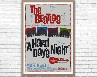 Beatles Posters Vintage - The Beatles Poster A Hard Days Night - Beatles Art - Home Theater Media Room Decor - Beatles Poster Print