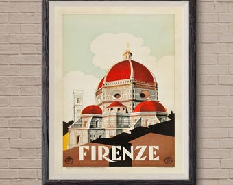 Florence Italy, travel poster, florence print, florence poster, travel decor, italy print, firenze italy, florence wall art, florence art