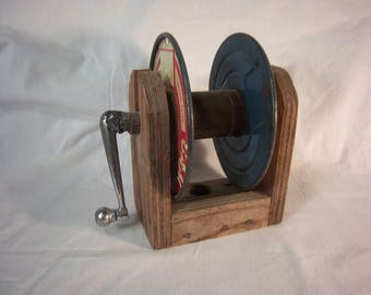 Rustic Handmade Vintage Reel Spool Storage for String or Line Accent Piece Canadiana