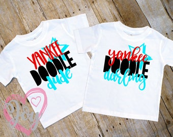 """COUPON SALE """"Yankee Doodle Dude or Darling"""" Twin T-shirt Set, Infant, Toddler and Preschooler Sizes, 4th of July,  Independence Day"""