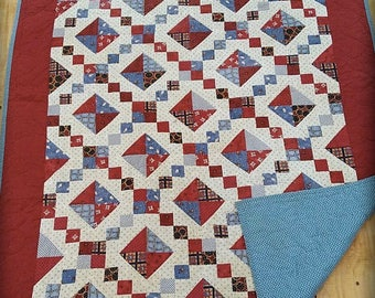 Antique Handstitched Patchwork Quilt Excellent Condition